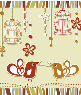 wedding invitation card with a bird cage and flowersのイラスト素材 [FYI03092682]