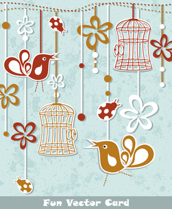 wedding invitation card with a bird cageのイラスト素材 [FYI03092686]