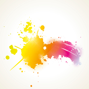 Abstract artistic Background with floral element and colorful blots. ink splattered backgroundのイラスト素材 [FYI03092688]