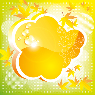 Orange autumn cloud with leaves and a patch of light. A bright cardのイラスト素材 [FYI03092690]