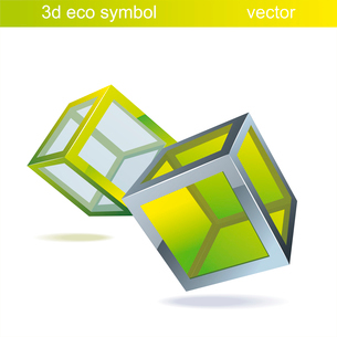 vector blue  cube  with green glass. Eco symbol.. vector  cubesのイラスト素材 [FYI03092696]