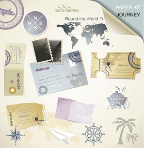 Journey -  paper objects for your travelのイラスト素材 [FYI03092713]