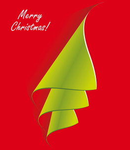 Creative Christmas tree formed from curled corner paper. Vector Illustration.. Creative Christmas trのイラスト素材 [FYI03092723]