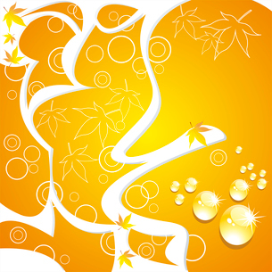 Splash and blot ,branch with  leaves. Vector background.のイラスト素材 [FYI03092734]
