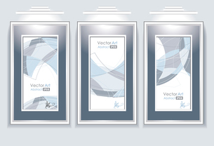 empty frames with abstraction in a room against a white wal. empty frames with abstractionのイラスト素材 [FYI03092740]