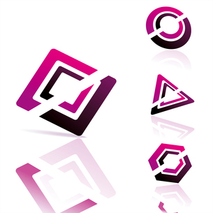 Set of 3d vector icons such logos. . vector iconsのイラスト素材 [FYI03092744]