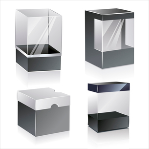 boxes with transparent plastic window. isolated over white background .  plastic  boxesのイラスト素材 [FYI03092750]