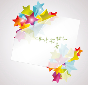 Abstract Colorful Background with white paper 3d glass stars. Vector.. Card with white paper and 3dのイラスト素材 [FYI03092751]