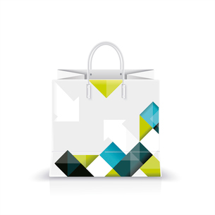 Vector illustration of white shopping paper or plastic bag with modern abstract pattern print.のイラスト素材 [FYI03092772]