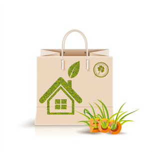 Vector illustration of  shopping paper bag with green symbol. Eco product, Eco packing.のイラスト素材 [FYI03092773]