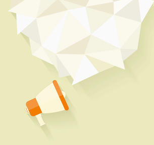Flat vector icon of megaphone with bubble speech for social media marketing conceptのイラスト素材 [FYI03092775]