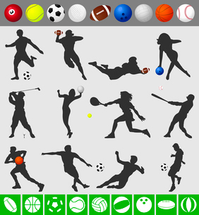Sports with a ball. Collection of sportsmen with a ball. A vector illustrationのイラスト素材 [FYI03092780]