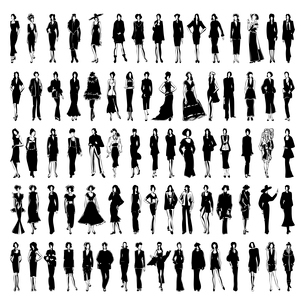 Style3. The models in a dress go on a path. A vector illustration.のイラスト素材 [FYI03092789]
