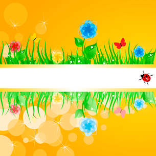 Summer frame. Green grass with flowers. A vector illustrationのイラスト素材 [FYI03092793]