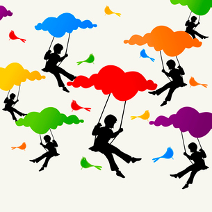 Swing. The girl sits on a swing on clouds. A vector illustrationのイラスト素材 [FYI03092794]
