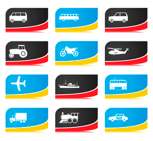 Transport buttons. Icons of different types of transport. A vector illustrationのイラスト素材 [FYI03092803]