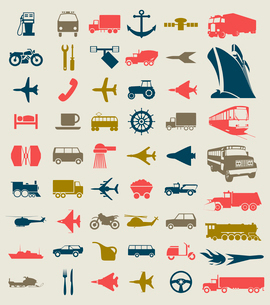 Collection of icons of transport. A vector illustrationのイラスト素材 [FYI03092804]