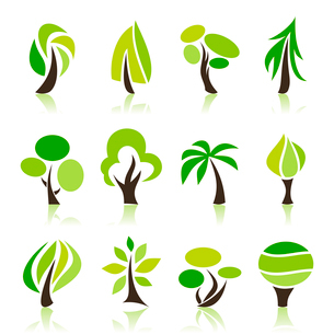 Set of icons of trees. A vector illustrationのイラスト素材 [FYI03092808]
