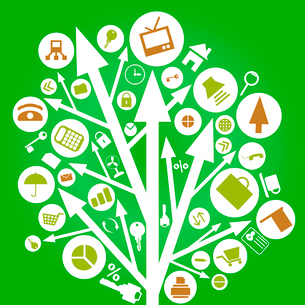 Tree from an arrow on a green background. A vector illustrationのイラスト素材 [FYI03092815]
