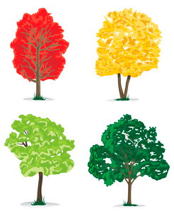 Trees with a crone of green, orange and red colour. A vector illustrationのイラスト素材 [FYI03092816]