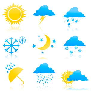 Weather icons2. Icons of the weather phenomena. A vector illustrationのイラスト素材 [FYI03092822]