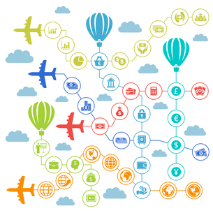 Planes carry business the sky. A vector illustrationのイラスト素材 [FYI03092829]