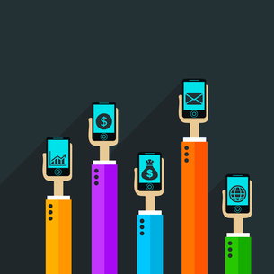 File transfer by phone. A vector illustrationのイラスト素材 [FYI03092841]
