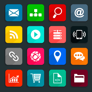 Set of icons the Internet. A vector illustrationのイラスト素材 [FYI03092842]