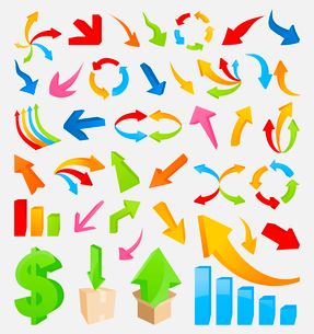 3D arrow4. Set of icons 3D the marksman. A vector illustrationのイラスト素材 [FYI03092846]