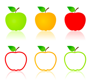 Set of icons of apples. A vector illustration. Apple iconsのイラスト素材 [FYI03092847]