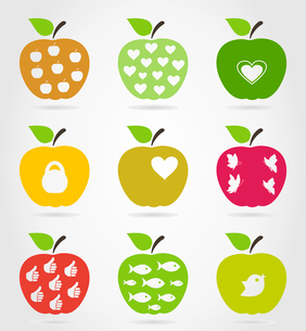 Set of icons of apples. A vector illustrationのイラスト素材 [FYI03092848]