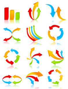 Arrow icon2. Icon of an arrow of different kinds. A vector illustrationのイラスト素材 [FYI03092851]