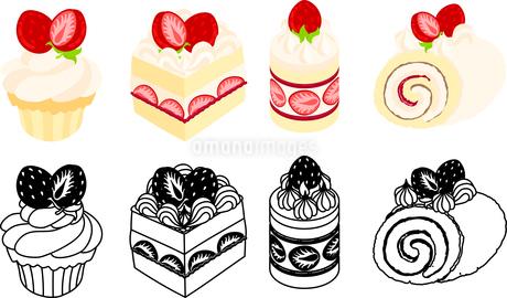 いろいろなケーキの可愛いアイコンのイラスト素材 [FYI03092866]