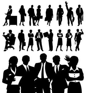 businessman8. Black silhouettes of businessmen. A vector illustrationのイラスト素材 [FYI03092872]