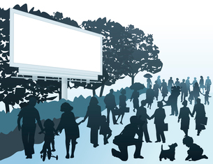 City street. City street filled with people. A vector illustrationのイラスト素材 [FYI03092873]