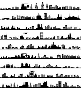 Collection of city landscapes. A vector illustrationのイラスト素材 [FYI03092875]