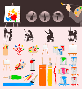 Collection of the artist. Collection of icons for the artist. A vector illustrationのイラスト素材 [FYI03092886]