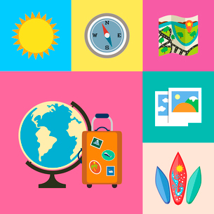 Flat vacation holidays and travel icons set of globe suitcase compass and map vector illustrationのイラスト素材 [FYI03092903]