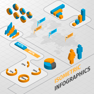 Abstract isometric business infographics design elements charts and graphs vector illustrationのイラスト素材 [FYI03092906]
