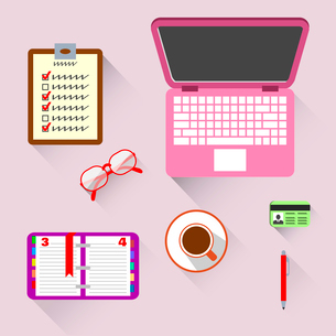 Top view on business workplace with book computer coffee and glasses vector illustrationのイラスト素材 [FYI03092908]