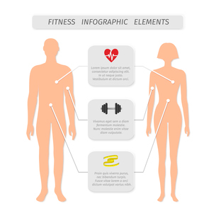 Infographic elements for fitness sports and healthcare achievement measure and report vector illustrのイラスト素材 [FYI03092909]
