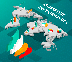 Isometric world map with business infographics design elements vector illustrationのイラスト素材 [FYI03092912]