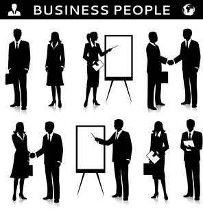 Flipcharts with business people silhouettes talking handshaking and collaborating vector illustratioのイラスト素材 [FYI03092915]