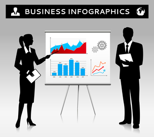 Flipchart presentation template with businessman and businesswoman silhouettes vector illustrationのイラスト素材 [FYI03092916]