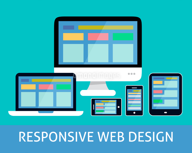 Responsive websites design for computers tablets and mobile phones concept icon vector illustrationのイラスト素材 [FYI03092918]