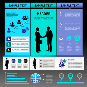 Infographics presentation layout template with business people silhouettes and icons vector illustraのイラスト素材 [FYI03092919]