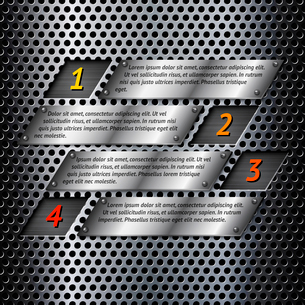 Abstract metal business infographics options layout design with perforated surface vector illustratiのイラスト素材 [FYI03092923]