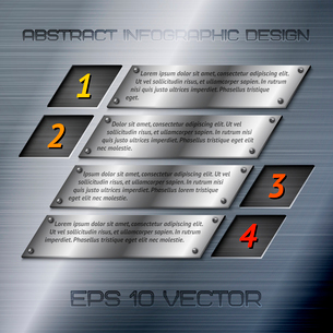 Abstract metal business infographics options layout design with steel silver chrome surface vector iのイラスト素材 [FYI03092928]