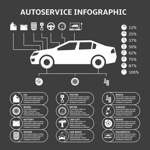 Car auto service infographics design elements with mechanical parts icons vector illustrationのイラスト素材 [FYI03092930]