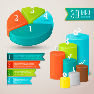 Abstract 3d infographics layout template with pie and bar charts vector illustrationのイラスト素材 [FYI03092931]